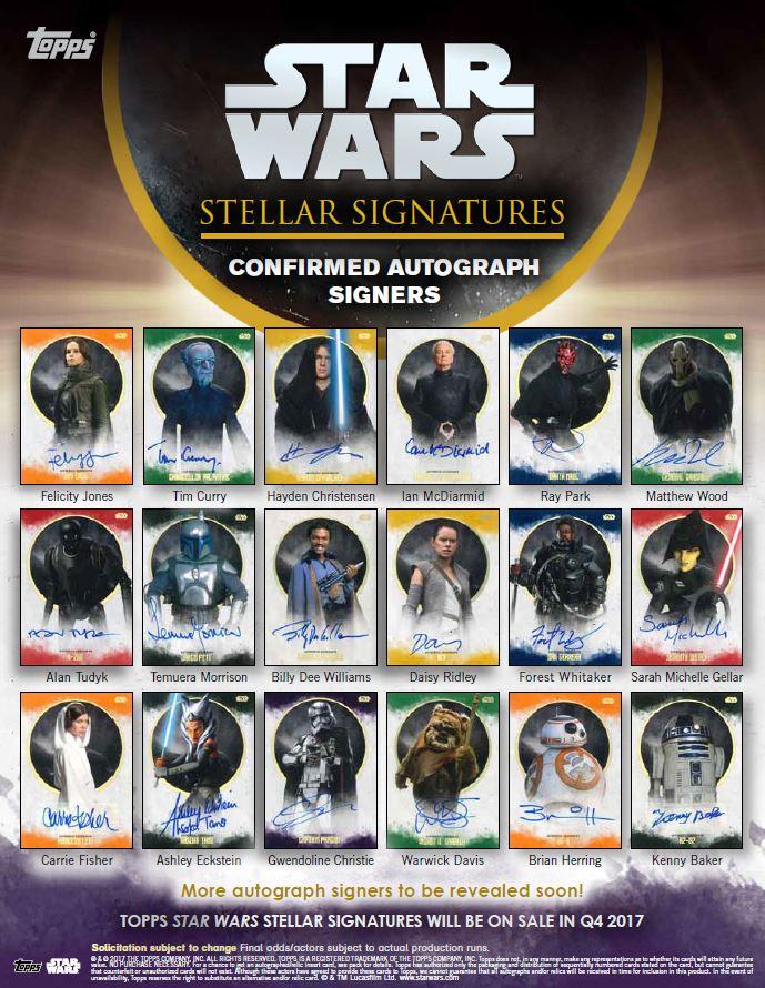 Star Wars Topps Stellar Signatures