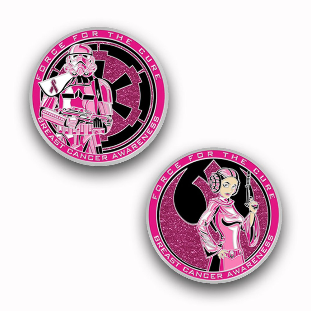 Challenge Coin Force for Cure rose pink