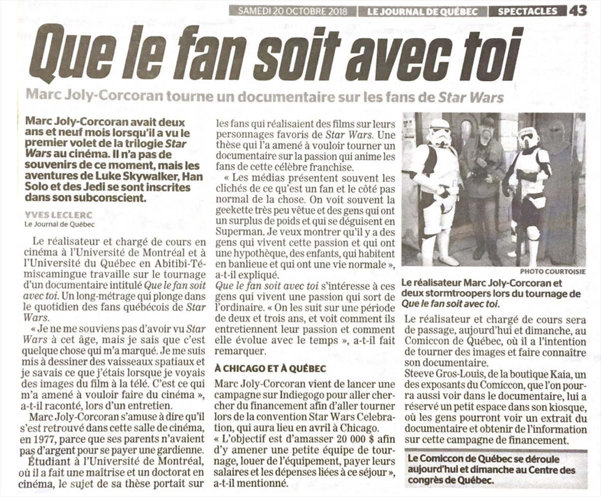 QUE LE FAN SOIT AVEC TOI : MAY THE FAN BE WITH YOU
