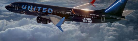United Airlines – Le timelapse de la décoration du Boeing 737 aux couleurs de l'épisode IX
